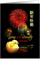 Chinese New Year of the Rooster 2029, Fireworks and Baby Chick card