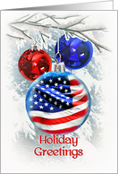 Patriotic Christmas, Holiday Greetings for Military, American Flag card