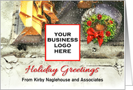 Christmas Greetings from Excavating Contractor, Custom Add Logo card