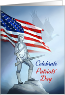 Patriots' Day Minuteman Revolutionary War Militia Man with Flag card