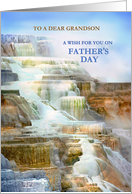 To Grandson on Father's Day, Mammoth Hot Springs Yellowstone Park card