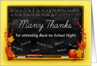 Thanks for Attending Back to School Night, Blackboard & Fall Leaves card