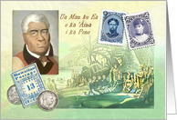 King Kamehameha Day Collage with Hawaiian Stamps & Motto card