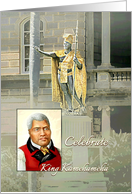 King Kamehameha Day Statue and Portrait of Hawaii's Great King card
