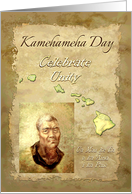 Kamehameha Day Portrait of King with Map of Hawaiian Islands card