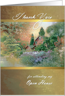 Open House Thank You from Real Estate Agent, Country Garden & House card