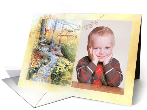 Happy Thanksgiving with Leafy Path and Fall Foliage with Photo card