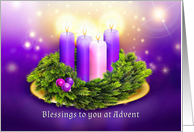 Advent Blessings for Christmas with Candles in Wreath card