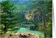 Happy Father's Day for Grandson, Aqua Lake with Rocks and Trees card