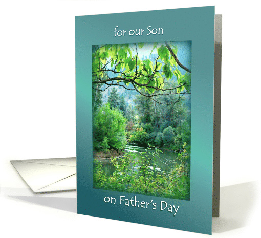 Happy Father's Day for our Son, River Scene and Forest to Son card
