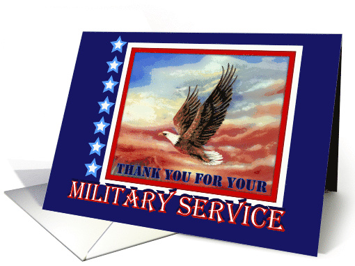 Thank You for Military Service, Flying Eagle Sunset card (813672)
