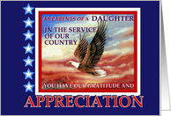 Military Appreciation To Parents of Daughter in Military Service, Thank You card