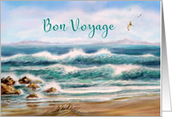 Bon Voyage, Happy Vacation, Aqua Seascape with Seagulls card