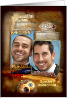 Two Strange Specimens in Jars, Halloween Photo Card Add Photo card