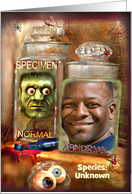 Creepy Specimen in Jar, Funny Halloween Photo Card for Zombie card