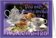 Welcome to the Neighborhood Invitation, Vintage Teapot and Teacups card