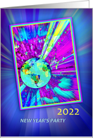 2021 New Year's Eve Party Invitation, Planet Earth with Light Rays card