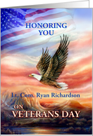Veterans Day Thanks, Personalized with Name, Eagle & Flag card