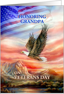 Honoring Grandpa on Veterans Day, Flying Eagle and Flag card