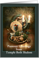 Customized Passover Greetings, Seder Table & Candlelight, Custom Front card