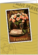 Passover Forever Stamp, Across the Miles with Pink Roses card