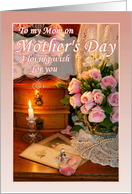 To Mom from Daughter on Mother's Day, Pink Roses and Pearls card