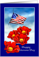 Happy Veterans Day, Thank You for Service, US Flag Red Poppies card