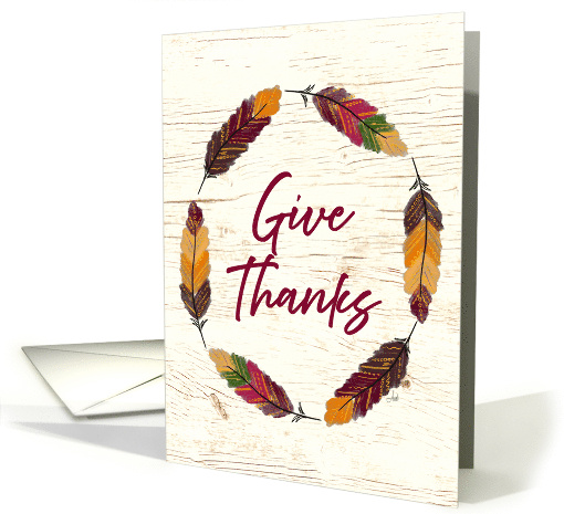 Thanksgiving Card with Decorative Fall Feather Wreath card (1648870)