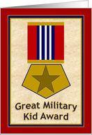 Gold Star Military Kid Good Grades Award! - Thank You from Military Parent Deployed or At Home card