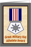 Red Star Military Kid Top Athelete Award! - Thank You from Military Parent Deployed or At Home card