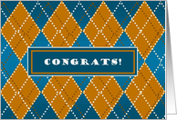 Congrats! From All of Us - Blue Gold Argyle Card