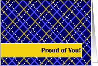 Proud of You! Congratulations on Good Report Card - Blue and Gold Plaid card