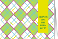Thanks for the Baby Gift! - Colorful Plaid Greetings card