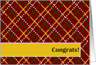 New Job Congrats! - Masculine Red and Gold Plaid card