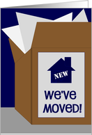 We've Moved Packing Box - Our First Home card