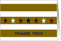 Stars and Gold Stripes Thank You - Military Spouse Service Thank You card
