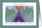 Merry Christmas Dear Friend & Her Partner Whimsical Evergreens card