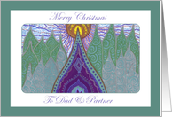 Merry Christmas Dad & Partner Whimsical Evergreens card