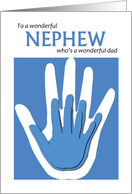 Father's Day for Nephew with blue handprints card