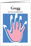 Father's Day with pink and blue handprints - customize name card