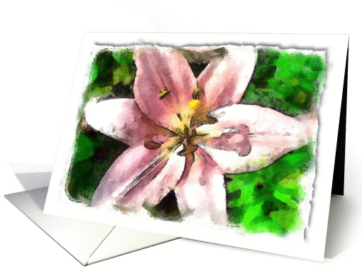 Pink flower against green background card (923915)