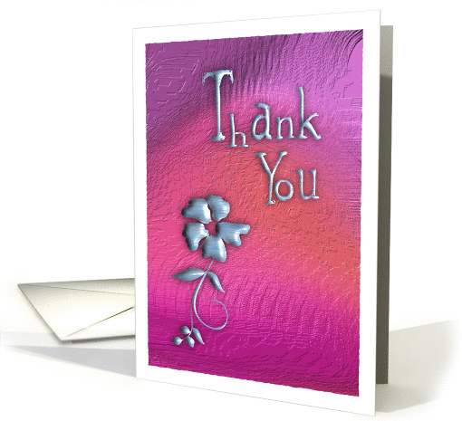 Thank You on mauve with flower card (944625)