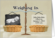 Birth Announcement - Baskets & Antique Scale, Photo Card