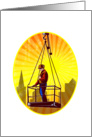Construction Worker Platform Retro card