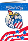 Patriot Day card featuring Statue of Liberty with Torch American Flag Shield card