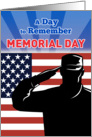 Memorial Day card featuring American soldier saluting flag card
