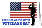 Veterans Day card featuring American soldier saluting flag card