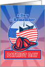 Patriot Day card featuring Firefighter Fireman Helmet American Flag WTC card