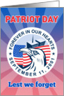 Patriot Day 9-11 card featuring American Eagle Flag and Twin Tower WTC card