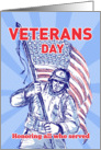 Veterans Day card featuring American soldier serviceman carrying flag card